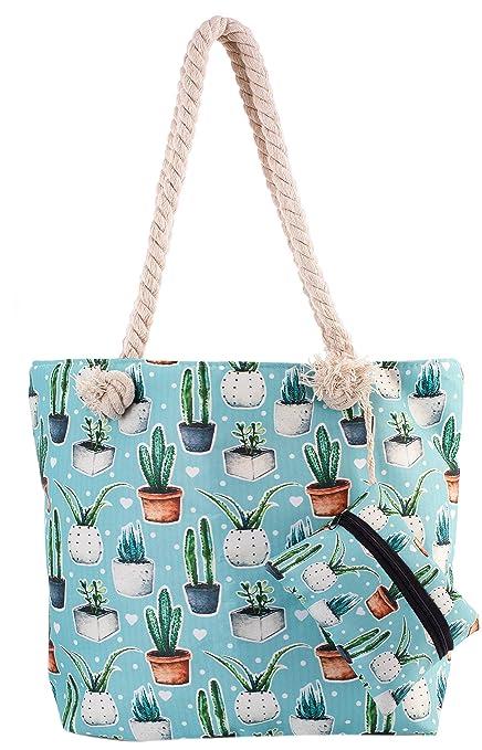 great deals durable modeling cheap Cactus Beach Shoulder Tote Bag - Cactus Baby Blue Weekender ...