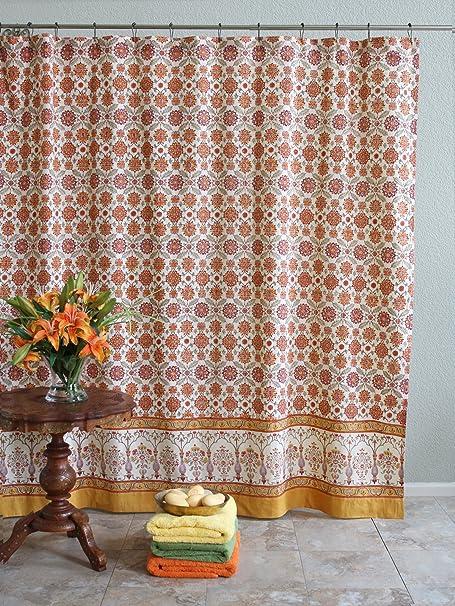 Orange Blossom Persian Mediterranean Floral Shower Curtain 72x72