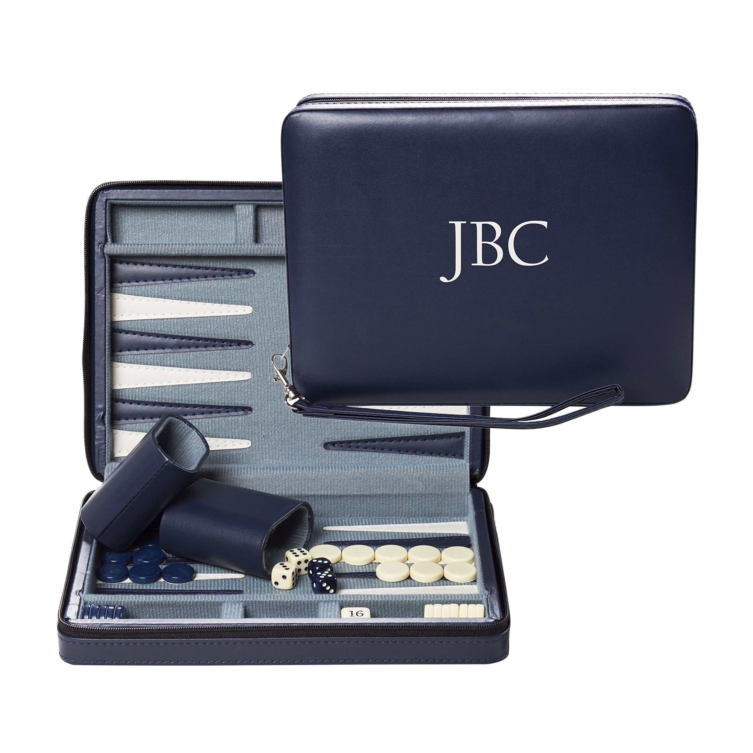 WE Games Custom Monogrammed Blue Magnetic Backgammon Set with Carrying Strap Travel Size by Wood Expressions (Image #1)