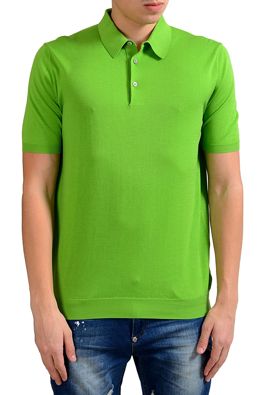 Malo Mens Lime Green Knitted Short Sleeve Polo Shirt Us L It 52 At