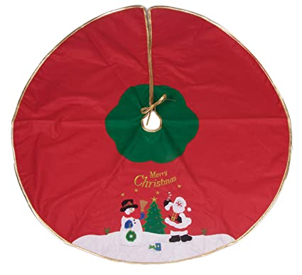 snowman and santa tree skirt by clever creations red and green with gold border