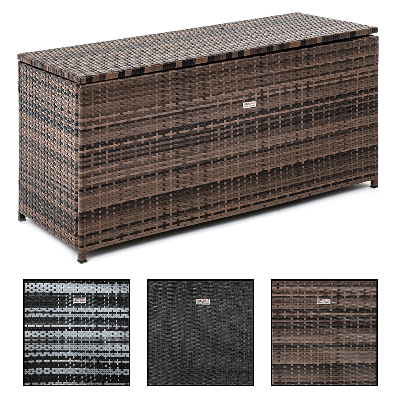 Estexo Polyrattan Auflagenbox 120 x 60 x 50 cm aus Polyrattan, Rattan, Box für den Garten, Truhe, Kissenbox (Schwarz) Box für den Garten 512469