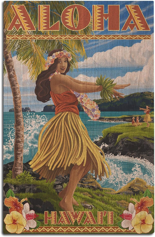 Lantern Press Hawaii - Aloha - Hula Girl on Coast (Flower Border) (12x18 Wood Wall Sign, Wall Decor Ready to Hang)