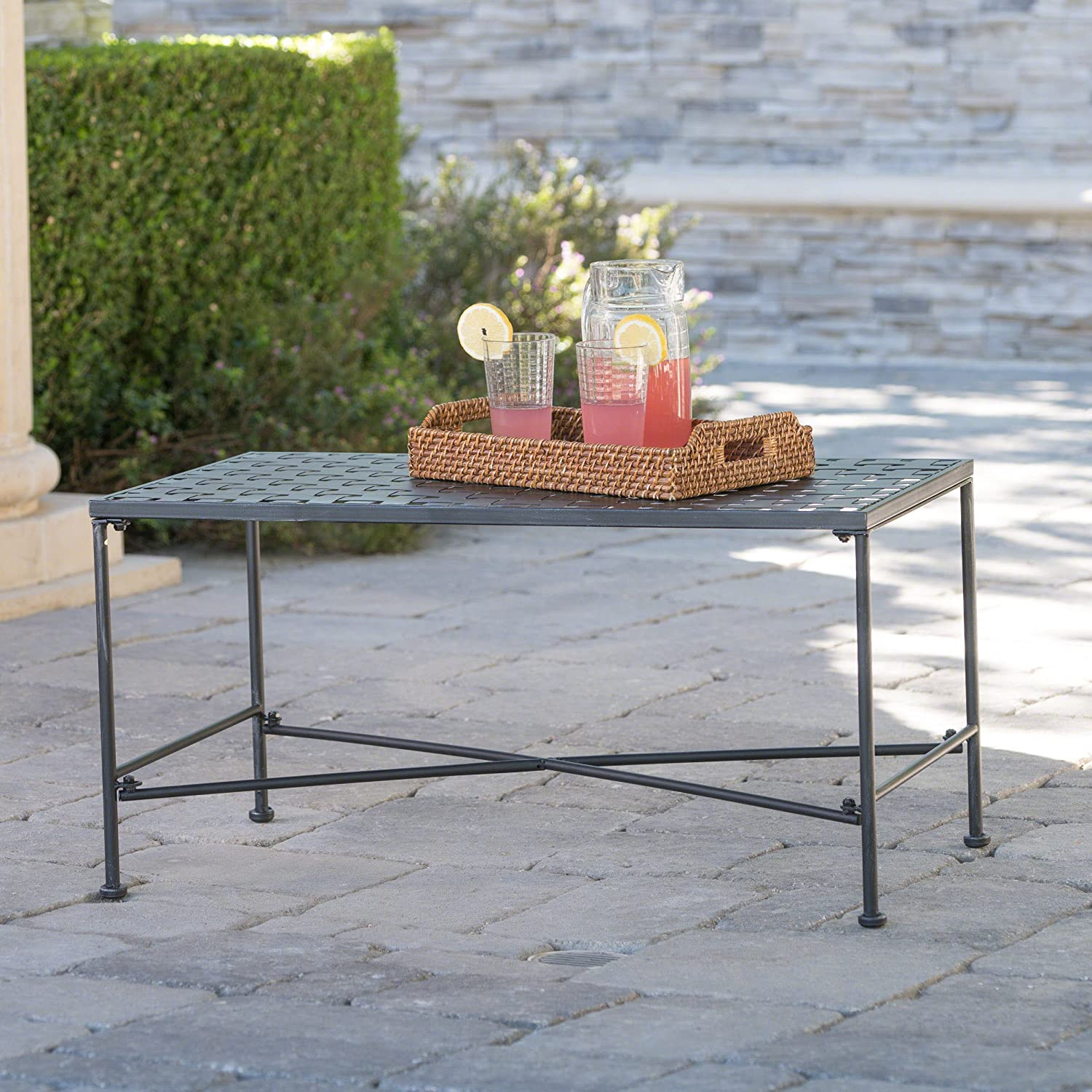 Amazon belleville fts80721 ceramic tile top outdoor patio kent outdoor black iron coffee table dailygadgetfo Image collections