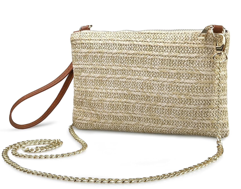 c8d9e075b1 Straw Zipper Small Cross body bag Wristlet Clutch Womens Purse (Brown)   Handbags  Amazon.com