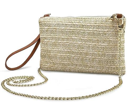 475135e12b Straw Zipper Small Cross body bag Wristlet Clutch Womens Purse (Brown)
