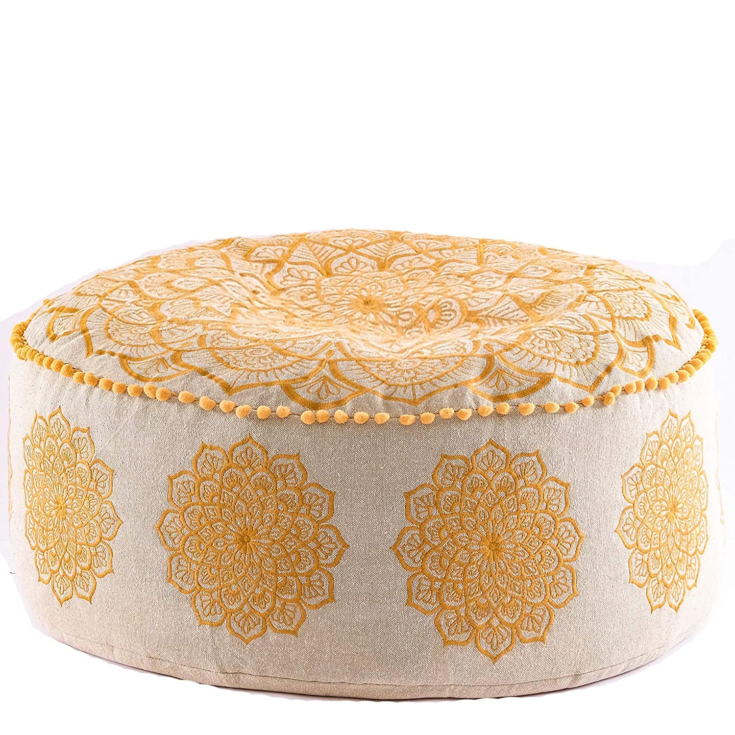 Bohemian Pouf Ottoman –STUFFED - Luxury, Artisan Room Décor Pouffe for Meditation, Yoga, and Boho Chic Seating Area Stool Floor Pillow – Accent Your Living Room, Bedroom, More – Handmade in India by Mandala Life ART Insert4