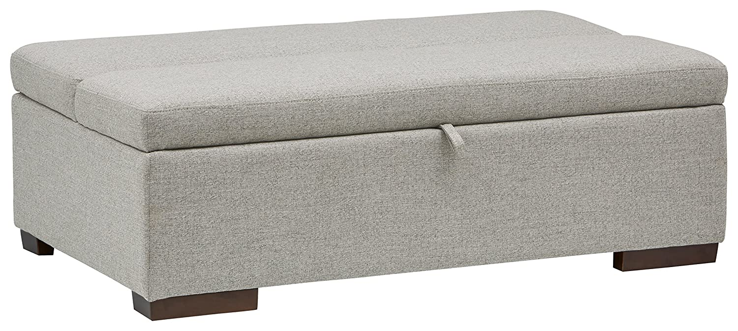 "Rivet Fold Modern Ottoman Sofa Bed, 48"" W, Light Grey"