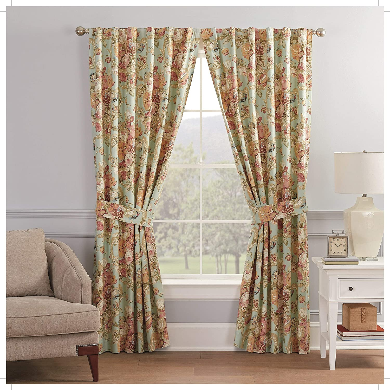 """Waverly Spring Bling Rod Pocket Curtains for Living Room, Double Panel, 100"""" x 84"""", Vapor"""