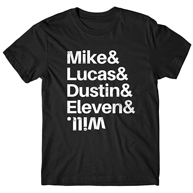 LaMAGLIERIA Camiseta Hombre Stranger Things Mike & Lucas & Dustin & Eleven & Will 100%