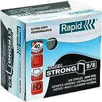 Rapid grapas SuperStrong 9/8, 8 mm de largo, 5000 piezas, 40 hojas, Fuerte Alambre, 24871000