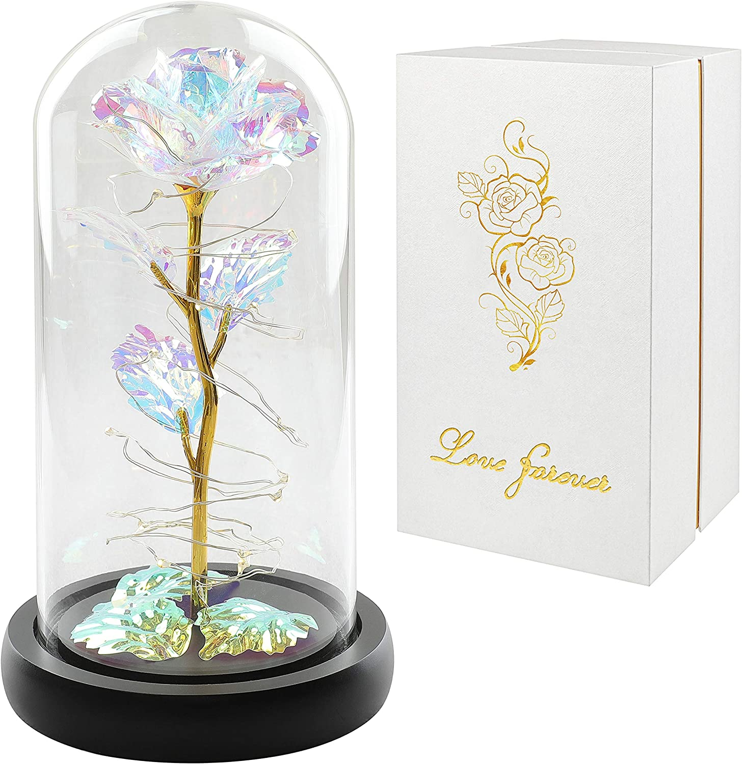 Colorful Artificial Flower Rose Gift, Led Light String on The Colorful Flower,Lasts Forever in A Glass Dome,Unique Gifts for Women, Christmas, Wedding,Valentine's Day, Anniversary and Birthday