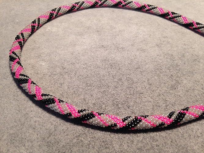 Amazoncom Necklace Hot Pink Black Grey Silver Beaded Bead Crochet