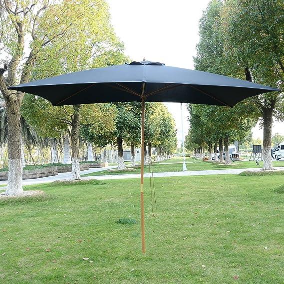 Outsunny 3 m x 2 m de madera sombrilla de jardín Parasol Patio al aire libre Paraguas toldo nuevo (negro): Amazon.es: Jardín