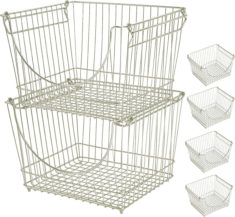 Smart Design Stacking Baskets Organizer - Large (12.63 x 8.5 Inch) - w/Handle - Steel Metal - Food, Fruit, & Vegetable Safe - Kitchen [Satin Nickel] - Set of 6