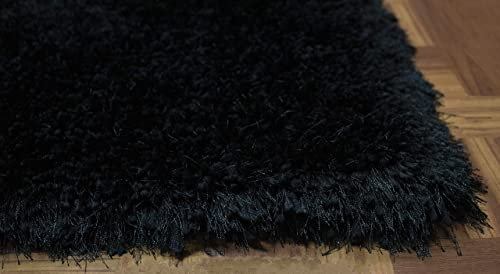 LA Epic Thick Thin Pile Soft Fluffy Furry Hairy Large Plush Contemporary Braided Shag Shaggy 8-Feet-by-10-Feet Polyester Made Area Rug Carpet Rug Black Color