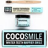 Coco Smile Blanchissement Dentaire Naturel du Charbon Actif en Poudre (90g) avec Bambou Brosse à Dents pour les Dents Blanc | Végétalien et Tout Naturel | 50% Plus Charbon de Noix de Coco en Poudre que les Autres Marques (Saveur de Menthe)