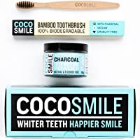 Activated Charcoal Natural Teeth Whitening Powder 90g   50% More Premium Activated Charcoal Powder than Other Brands   With Charcoal Bamboo Toothbrush   CocoSmile   Spearmint Flavour