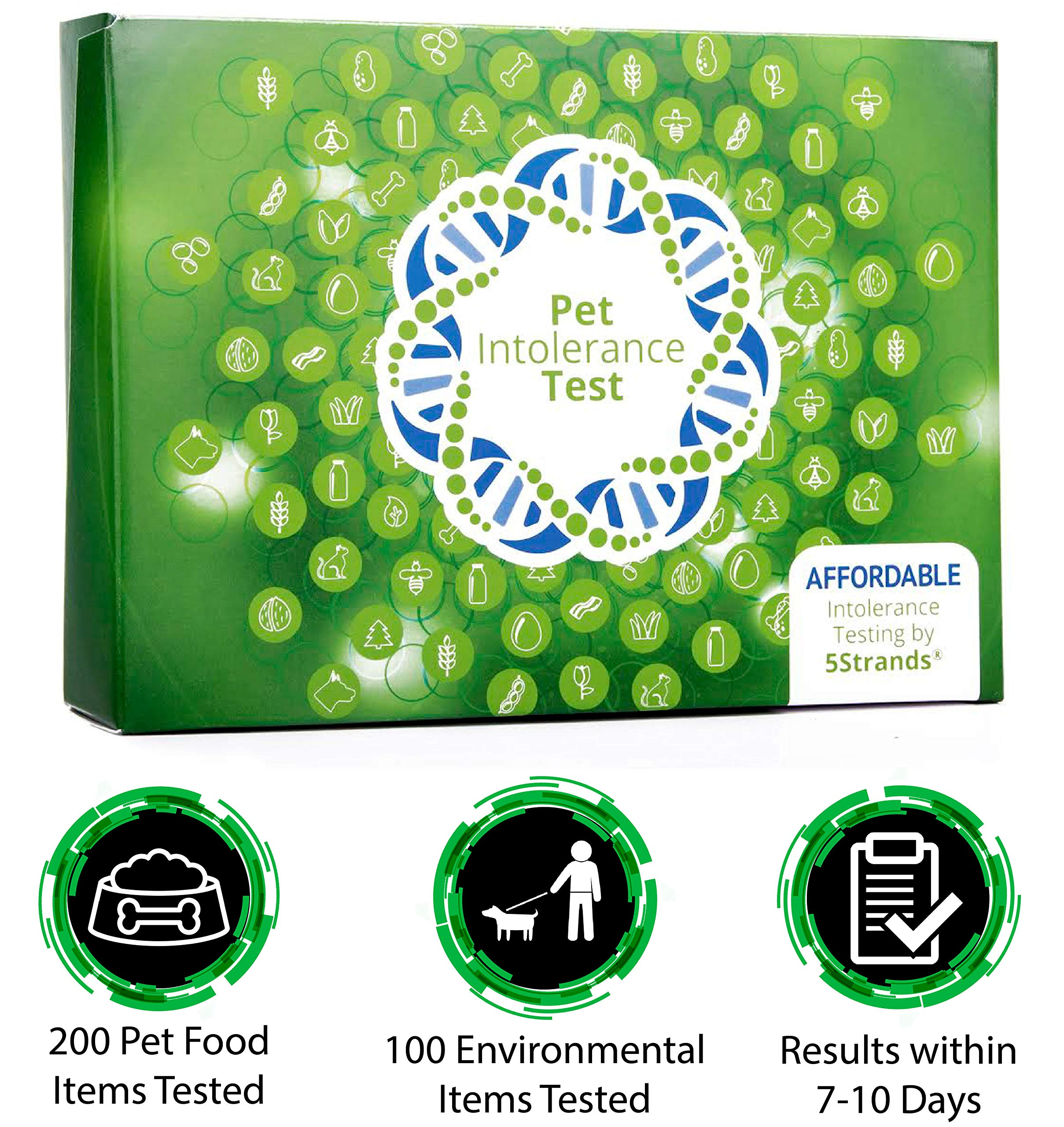 5Strands | Affordable Pet Test | 200 Food Ingredients & 100 Environmental Items Tested Cat & Dog | Allergy Sensitivity & Intolerance at Home Collection Test Kit | Hair Analysis | (Pet 300) by 5Strands
