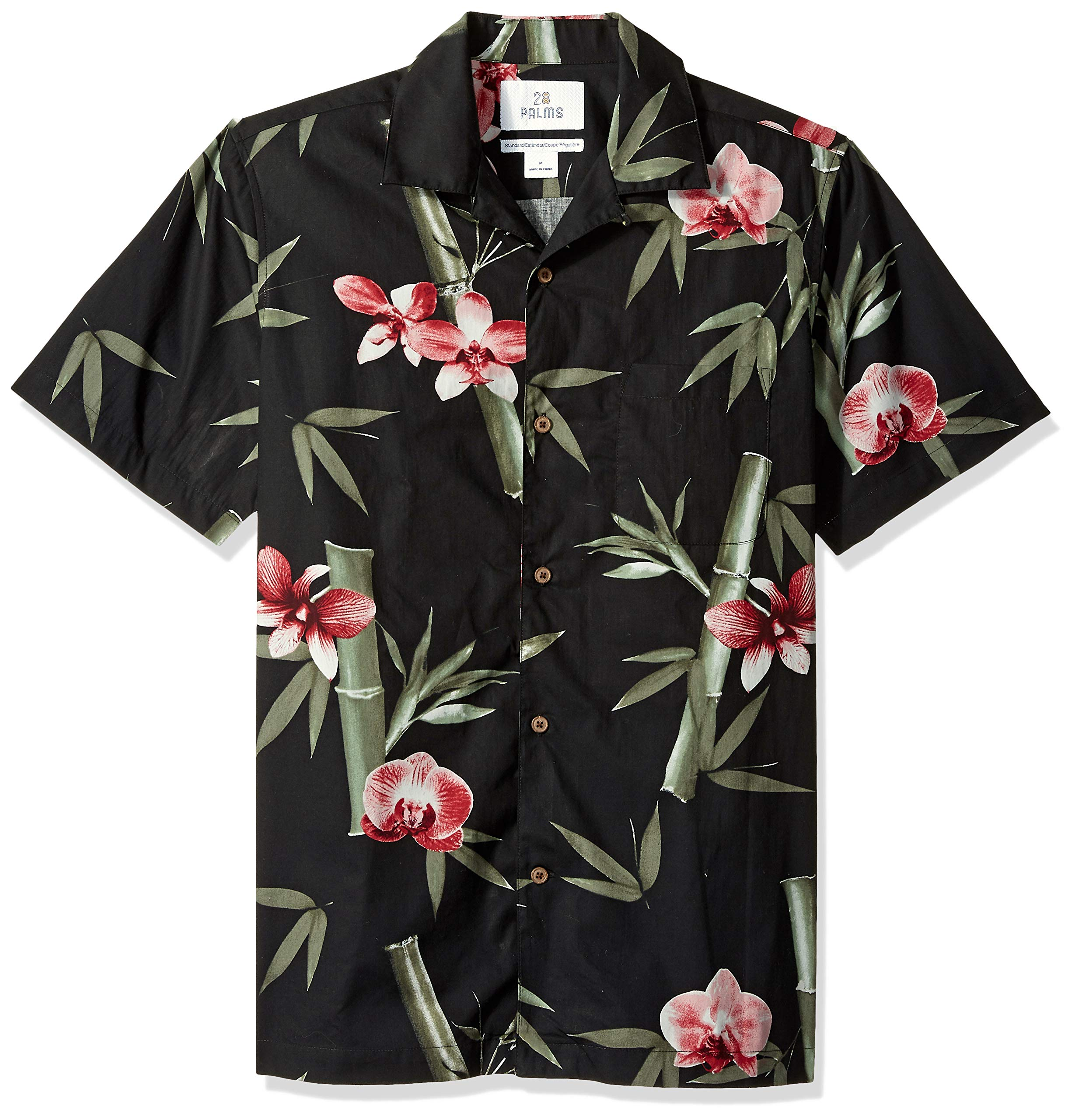 28 Palms Men's Standard-Fit 100% Cotton Tropical Hawaiian Shirt, Black/Pink Bamboo Orchid X-Large
