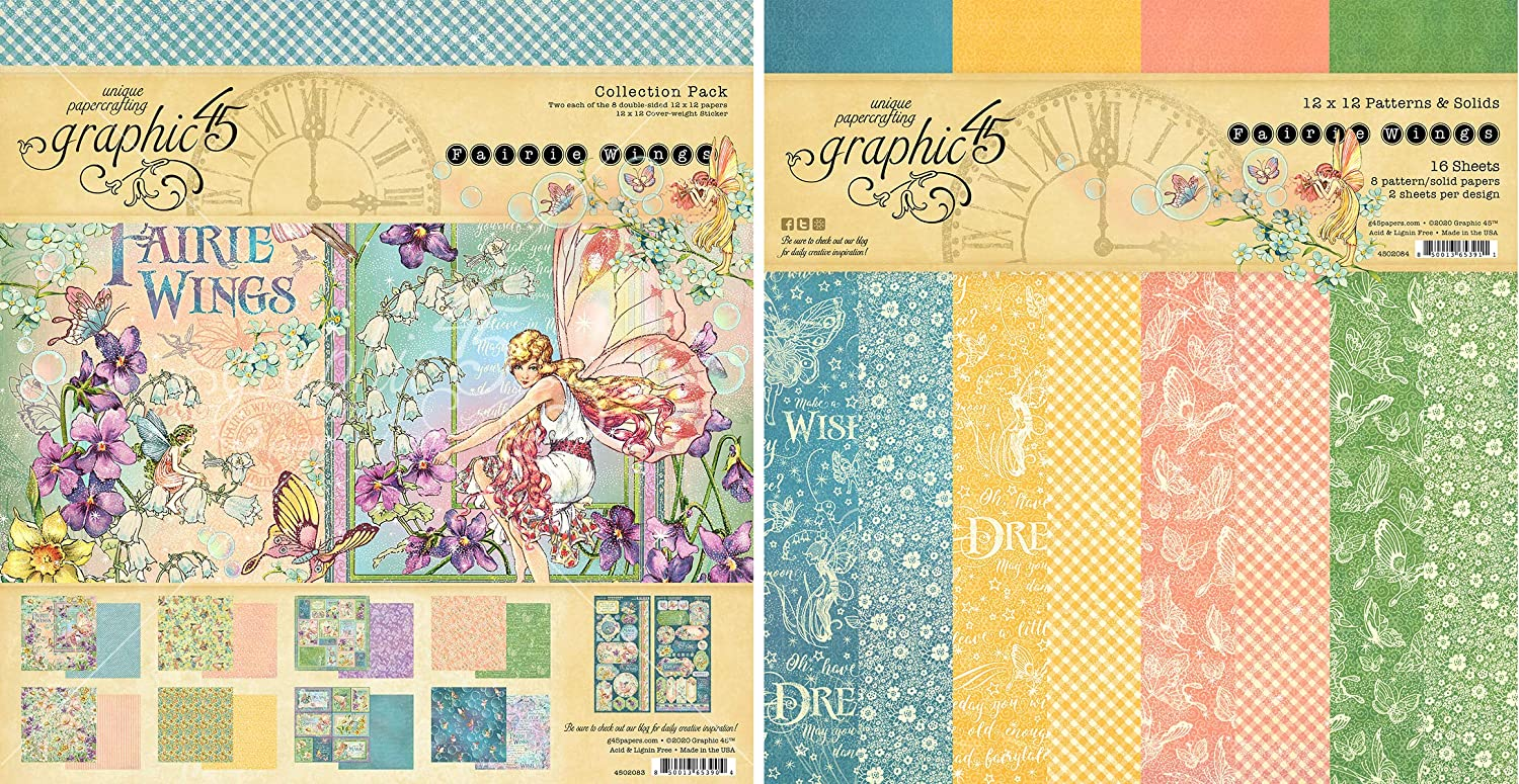Graphic 45 Fairie Wings Collection Pack and Patterns & Solids Pad - 12x12 Fairy Themed Decorative Papers - 2 Items