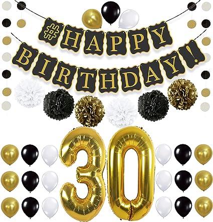 "18/"" Foil Balloon Happy 30th Birthday Ladies Mens Funky Circle Gift Air//Helium"