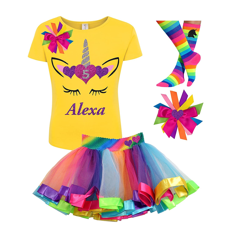5th Birthday Unicorn Shirt Rainbow Tutu Outfit Girls 4PC Gift Set Personalized Name