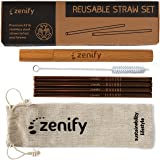 Zenify Reusable Straws Rose Gold with 4X 8mm Metal Straw + Case + Bag + Cleaner - Eco Friendly Stainless Steel Smoothie Drinking Gift Set - Alternative to Single Use Plastic Paper Glass Silicone