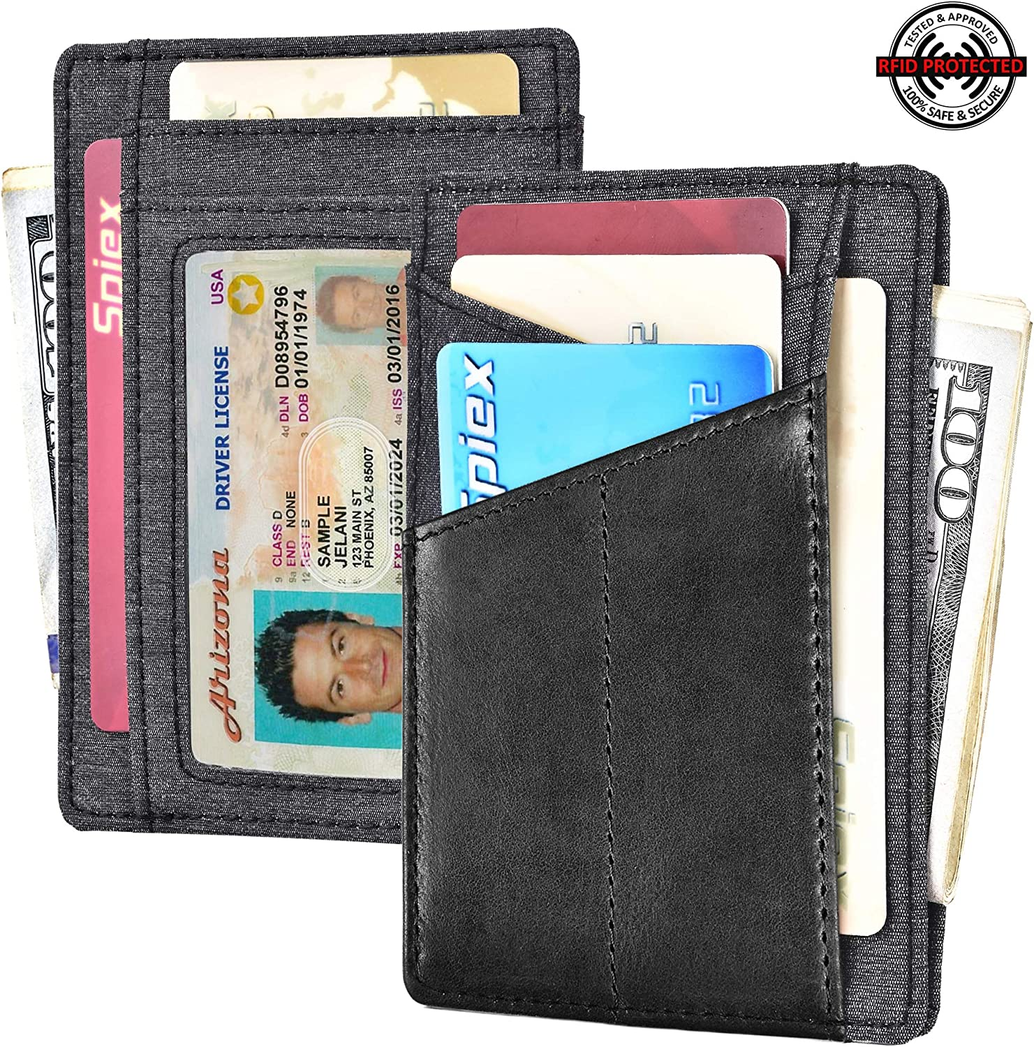 RFID Blocking Wallet Minimalist Slim Leather Credit Card Holder for Men Holds up to 8 Cards and Bank Notes(Dimension: 110mm x 80mm) As250 - Grey & Black