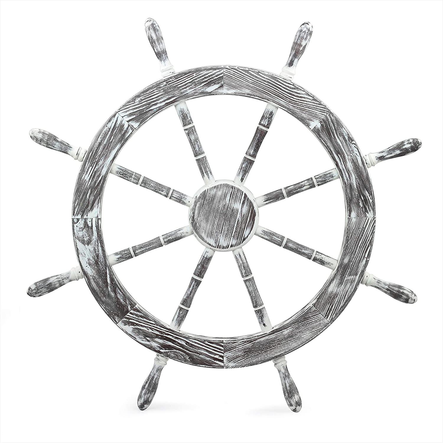 "30"" Antique White Nautical Decorative Premium Pine Wood Ship Wheel 