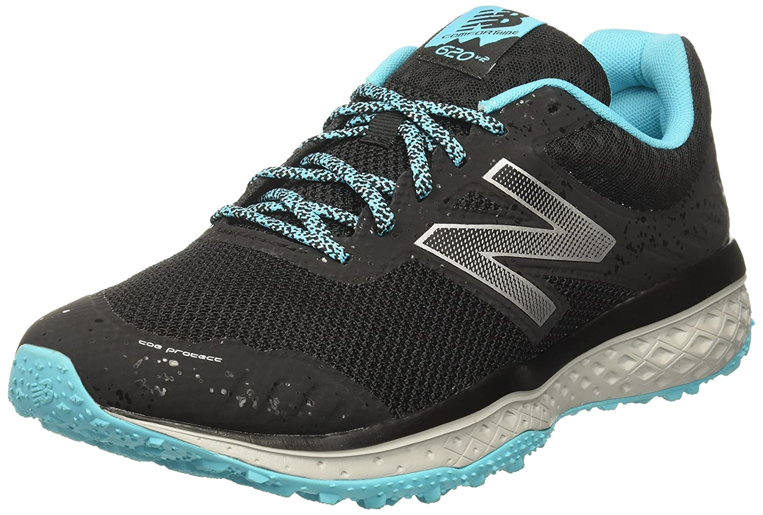 New Balance Women's Cushioning 620v2 Trail Running Shoe B01LWNKSZA 8.5 B(M) US|Black/Vivid Ozone Blue