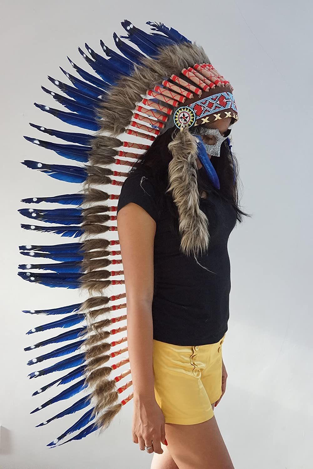 90cm Real Feather War Bonnet Indian Headdress// Native American Chief Costume