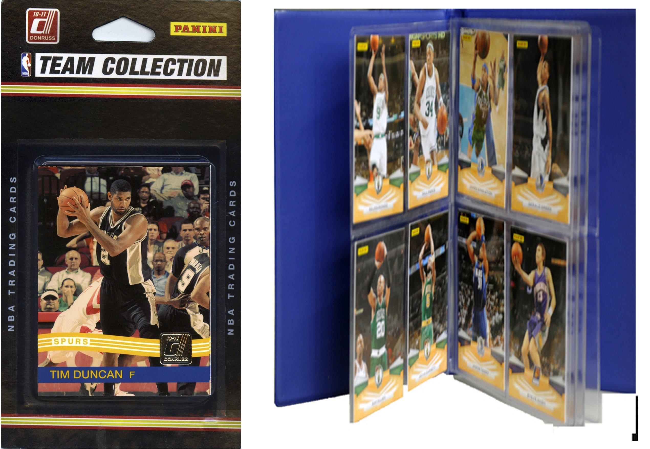C&I Collectables NBA San Antonio Spurs Licensed 2010-11 Donruss Team Set Plus Storage Album