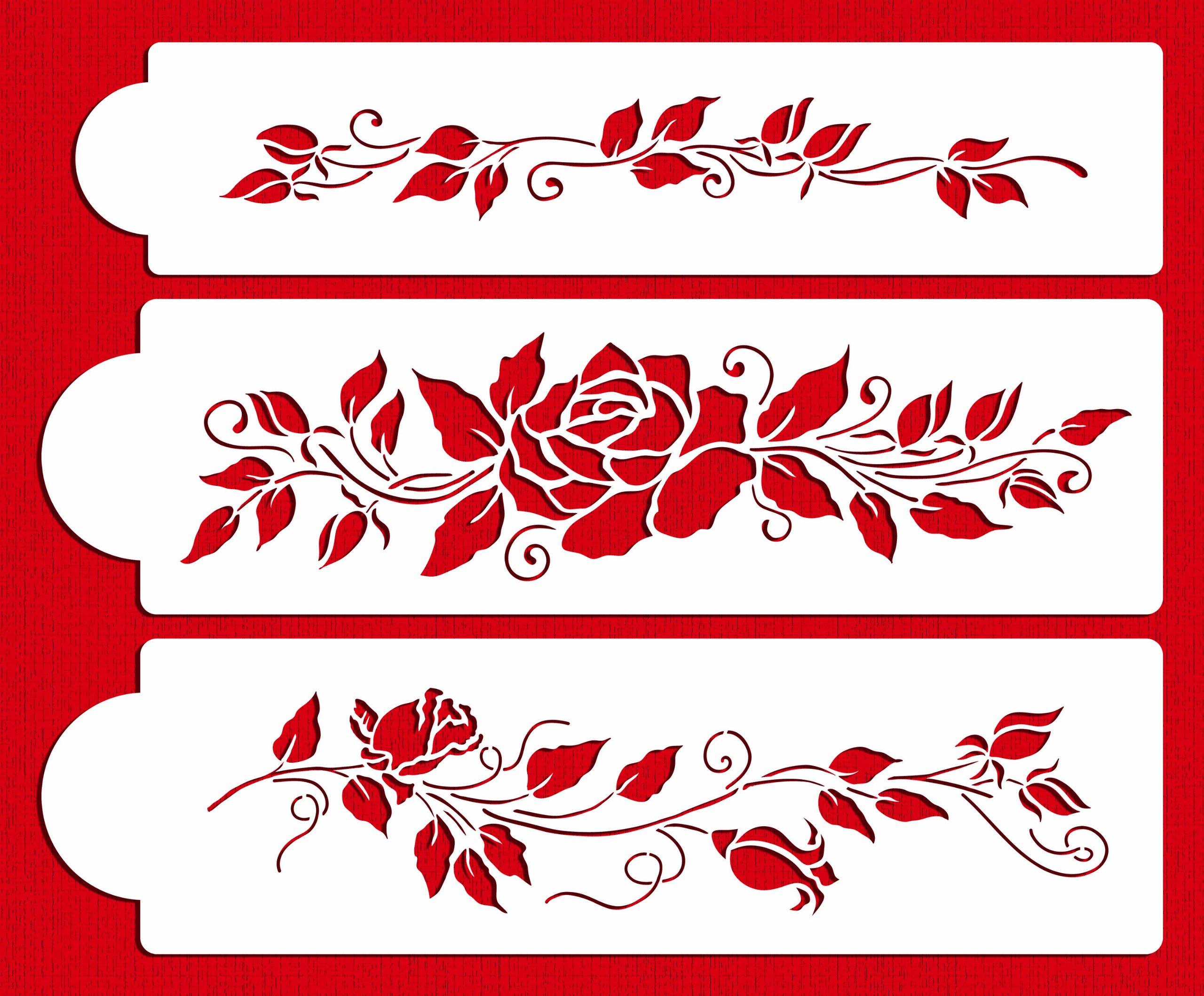 Designer Stencils C560 Rose Cake Stencil Set, Beige/semi-transparent