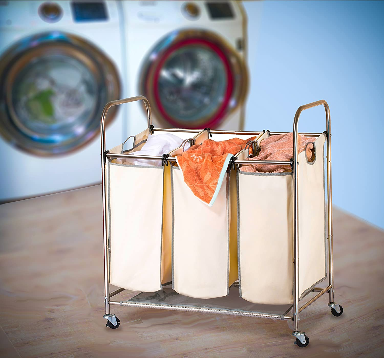 Triple clasificador de lavandería sobre ruedas - Durable metal marco, con ruedas y tres bolsas de lona (con asas. Los Tres compartimento para ropa sucia ...