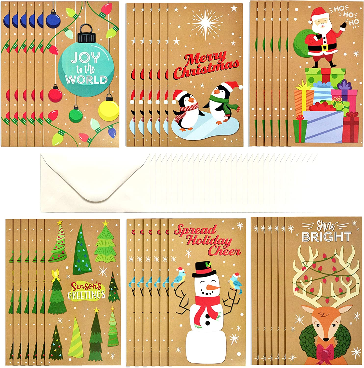 JOYIN 36 Pcs Kraft Paper Christmas Holiday Greeting Cards Money/Gift Card Holder for Cash, Checks, or Gift Cards with 36 White Envelopes