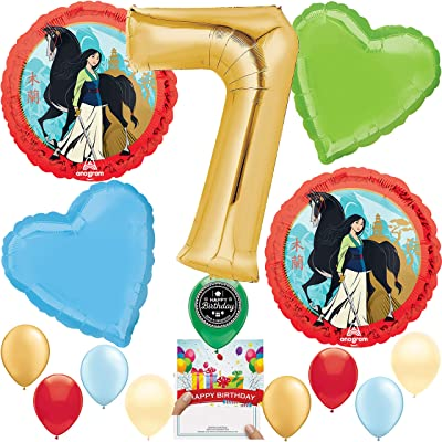 Mulan Party Supplies Balloon Decoration Bouquet Bundle for 7th Birthday: Toys & Games