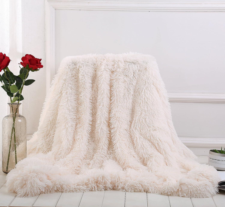 YOUSA Super Soft Shaggy Faux Fur Blanket Ultra Plush Decorative Throw Blanket 51x63, Black