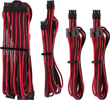 rouge//noir C/âble ATX 24 broches type 4 Gen 4 /à gainage individuel CORSAIR Premium