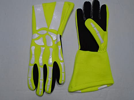 Cuircon Auto Racing Multi Layer Nomex Skeleton Gloves Black Glove with Skeleton//Skull Bones Print XL, Blue-White Large, Black with White Skeleton