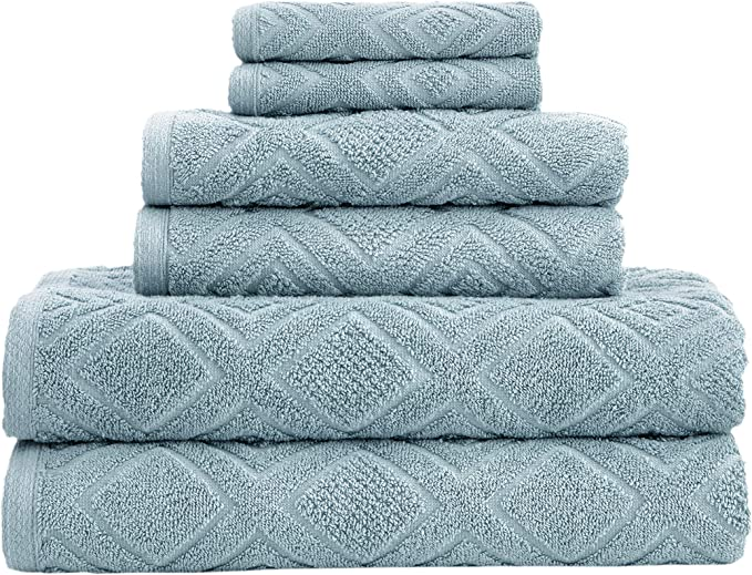 Amazon Com Classic Turkish Towels 6 Piece Cotton Bath Towel Set Luxury Soft And Thick Bath Towels 600 Gsm Made With 100 Turkish Cotton Sea Grass Home Kitchen