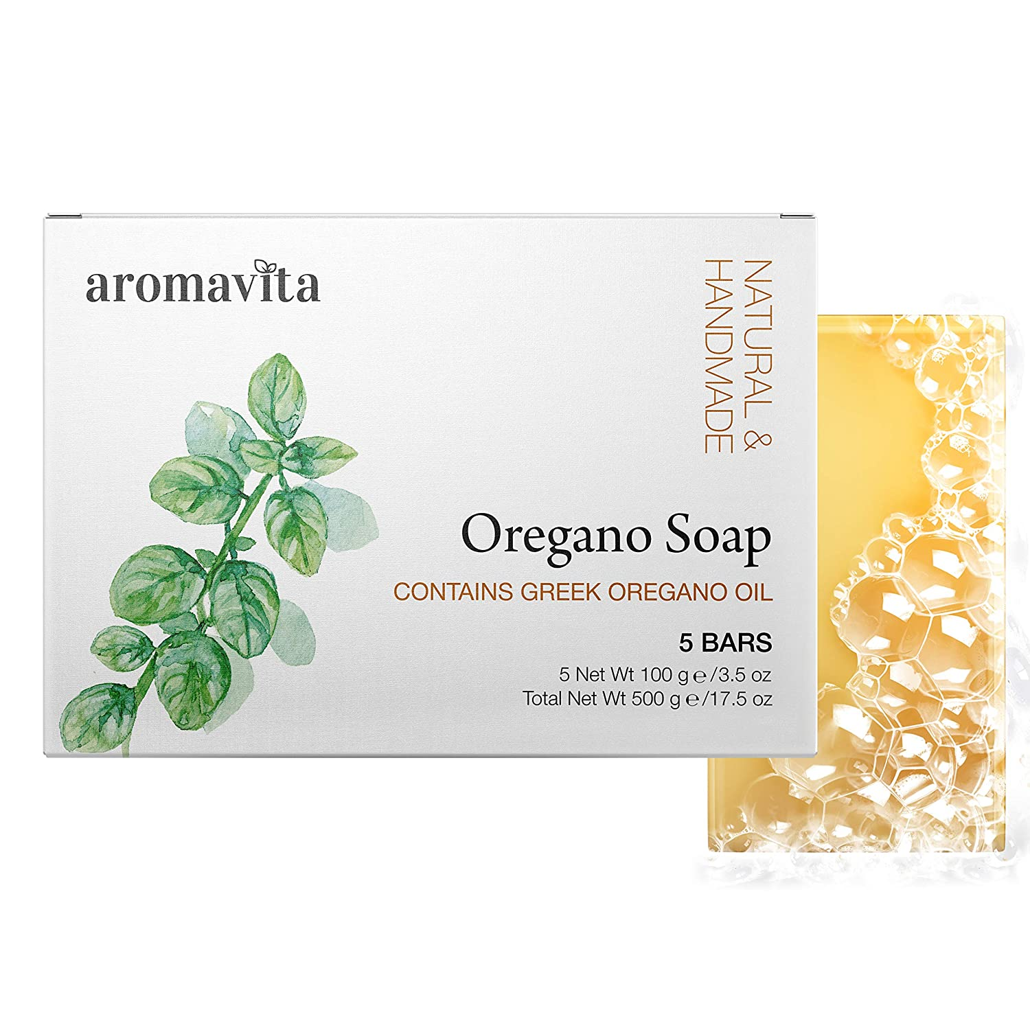 Aromavita Oregano Oil Soap - Natural Plant Therapy Hand Soap or Body Wash - Topical Therapeutic Skin Cleanser for Acne, Eczema, Foot and Nail Problems - 5 Pack