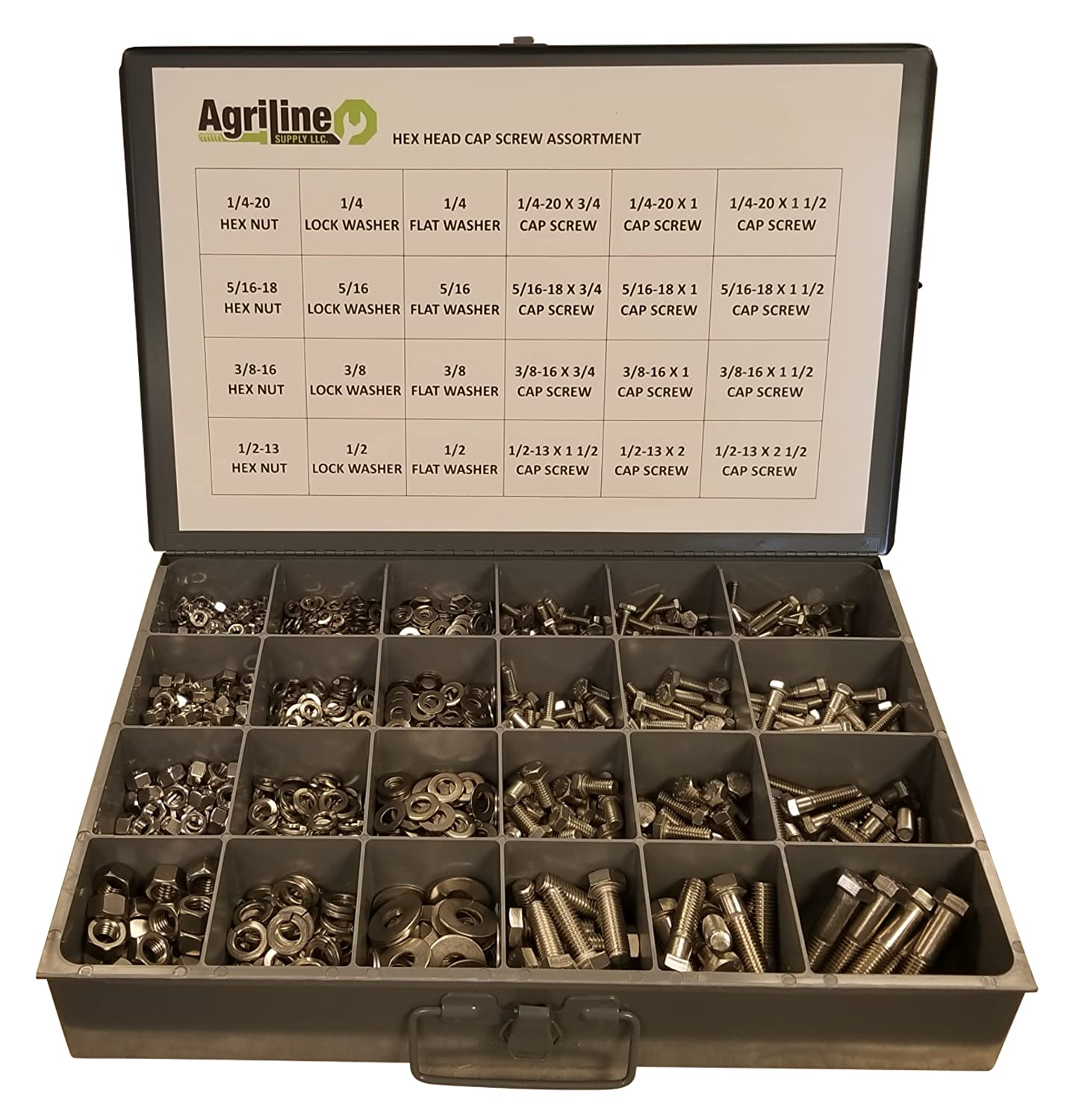 and Washer Assortment 18-8 Coarse Thread Set 304 Nut Bolt 1150 Piece Stainless Steel Hex Head Cap Screw