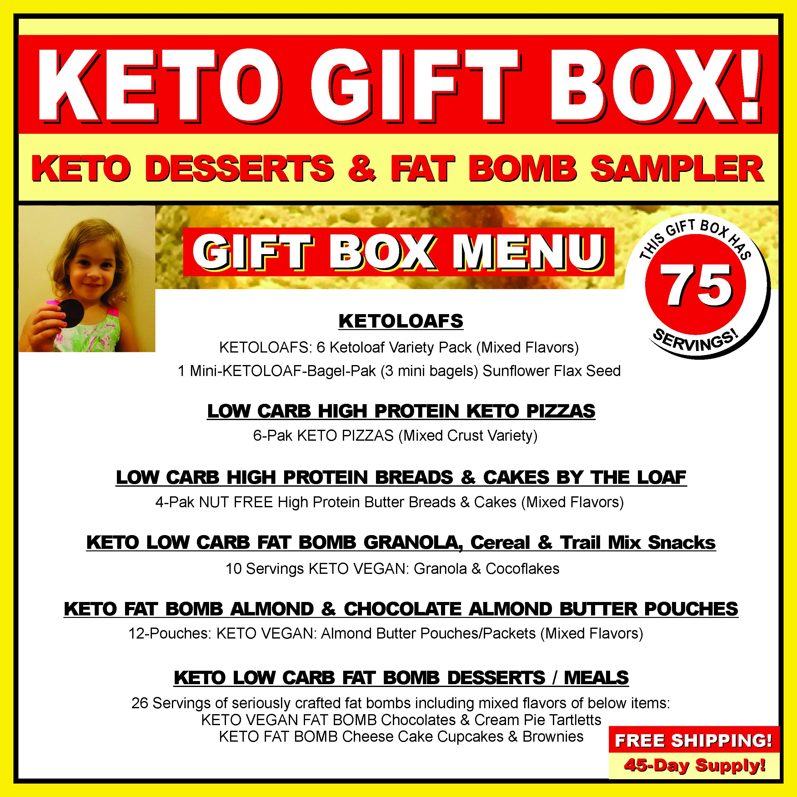 KETO BAKERY LOW CARB PIZZA & FAT BOMB HOLIDAY GIFT BOX ~ 75 Servings! GLUTEN FREE! NO SUGARS ADDED! HIGH FAT LOW CARB DESSERT MEALS, FAT BOMBS by KETO TO GO (Image #2)