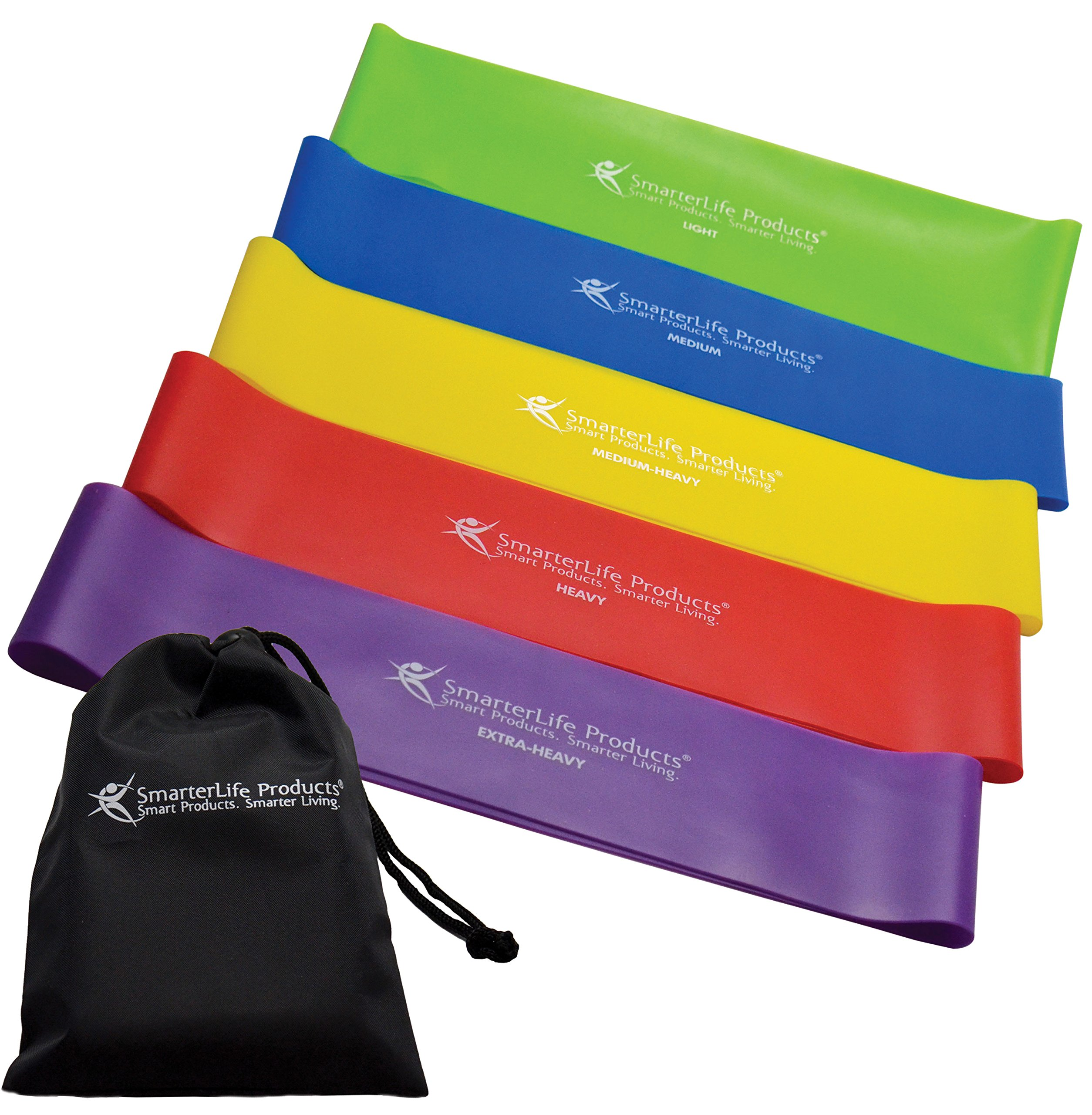 Resistance Bands by SmarterLife - Extra Wide Exercise Bands Prevent Folding, Twisting - Non-Latex, Anti-Snap Resistance Band Design - Workout Bands for Resistance Training, Pilates, Physical Therapy
