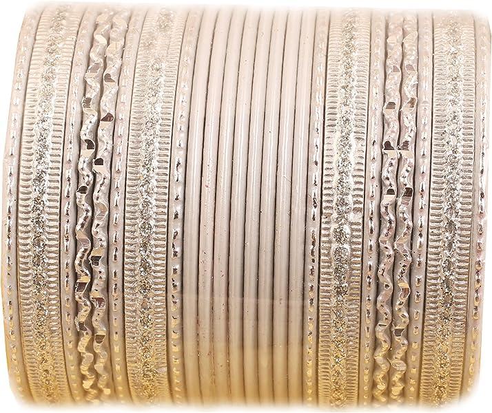 fa35e74a7 Touchstone New Colorful 2 Dozen Bangle Collection Indian Bollywood Alloy  Metal Textured Vanilla White Designer Jewelry