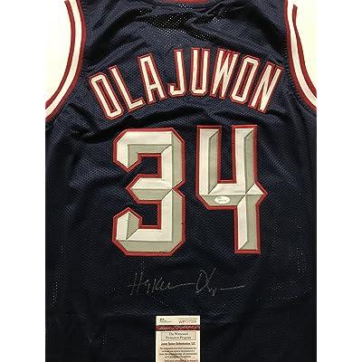 newest collection 7f623 72ec3 Autographed/Signed Hakeem Olajuwon Houston Rockets Blue ...