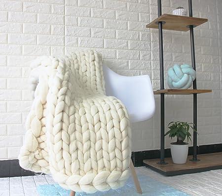 Chunky Arm Knit Blanket 40% Super Meerino Wool Giant Yarn Throw Custom Cream Chunky Throw Blanket