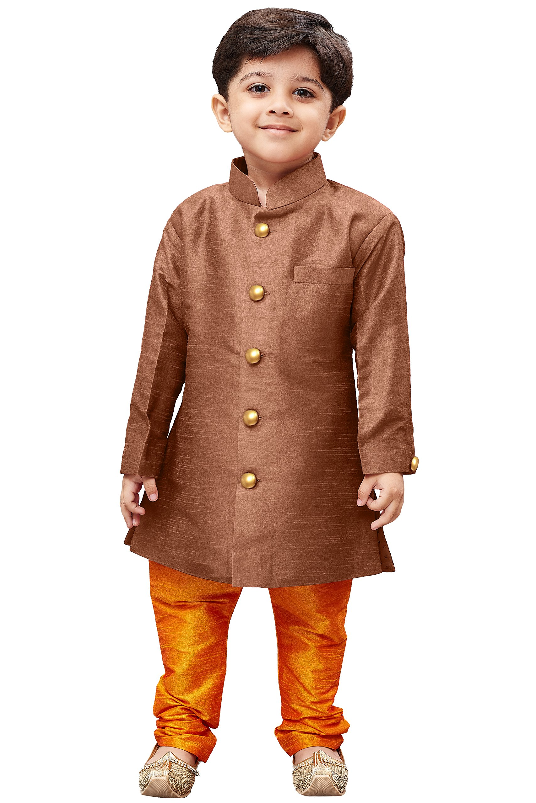 JBN Creation Boys' Brown Silk Blend Sherwani Style Kurta Set(VASBKCO006nPOR_22)