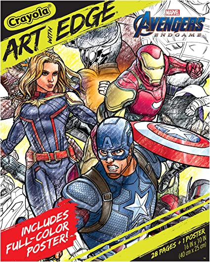 Amazon.com: Crayola Marvel Avengers Endgame Coloring Pages & Poster, 28  Pages: Toys & Games
